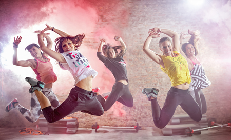 Photo for young people practicing dance fitness workout - Royalty Free Image