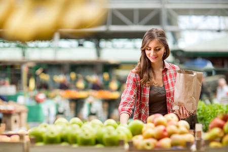 Photo for shopping woman buying fruit at the market - Royalty Free Image