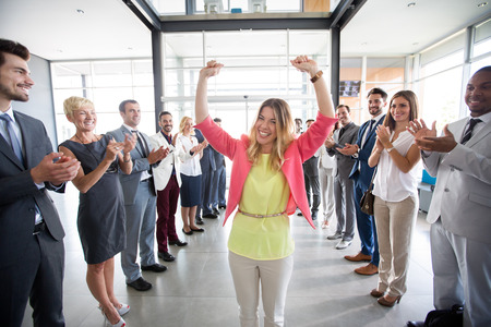 Photo for positive confident leader congratulations employer applauding - Royalty Free Image