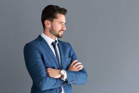 Foto de Elegant male model look in distance, side profile image - Imagen libre de derechos