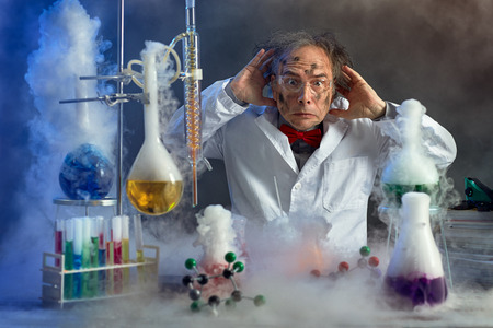 Photo for frightened scientist front of experiment that exploded in lab - Royalty Free Image
