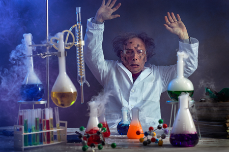 Foto de  sad scientist with a failed experiment after the explosion in the lab - Imagen libre de derechos