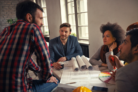 Photo for architects discussing ideas and planning for business project - Royalty Free Image