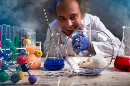 Foto de Crazy scientist happily looking at his lab mouse, ready to do experiment - Imagen libre de derechos