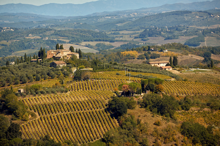 Photo pour Beautiful Tuscany landscape with hill, house and vineyard. - image libre de droit