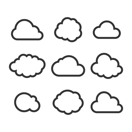 Illustration pour Cloud Icon Set. Vector - image libre de droit