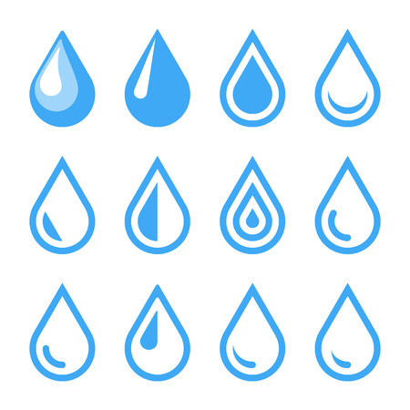 Illustration pour Water Drop Emblem. Logo Template. Icon Set. Vector. - image libre de droit