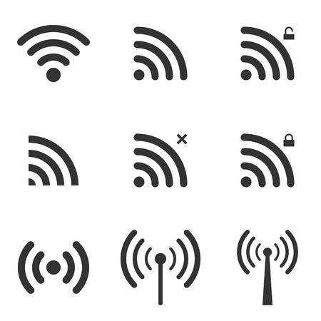 Ilustración de Set Of Wi-Fi And Wireless Icons. WiFi Zone Sign. Remote Access And Radio Waves Communication Symbols. Vector. - Imagen libre de derechos
