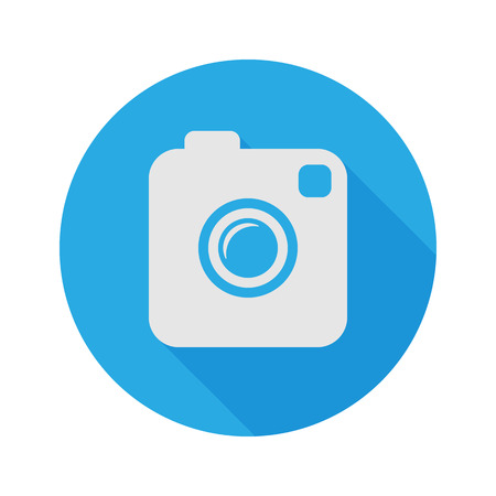 Illustration pour Photo or Video Camera. Flat Style With Long Shadow. Vector Icon. - image libre de droit