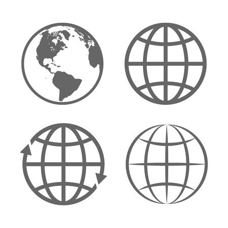 Illustration pour Earth Globe Emblem. Logo Template. Icon Set. Vector. - image libre de droit