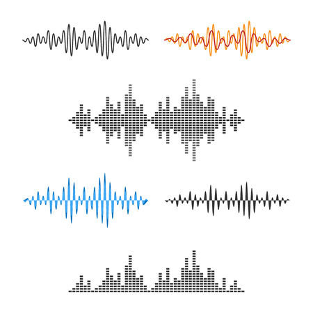 Ilustración de Waveform Shape. Soundwave. Audio Wave Graph Set. Vector. - Imagen libre de derechos