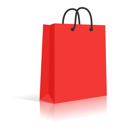 Ilustración de Blank Red Paper Shopping Bag With Black Rope Handles. Vector. - Imagen libre de derechos