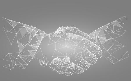 Illustration pour two hands handshake polygonal low poly contract agreement monochrome on a light background. vector - image libre de droit