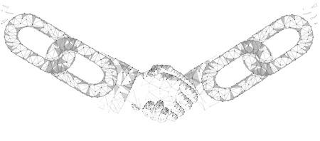Foto für Blockchain technology agreement handshake business concept low poly. Polygonal point line geometric design. Hands chain link internet hyperlink connection gray white vector illustration - Lizenzfreies Bild