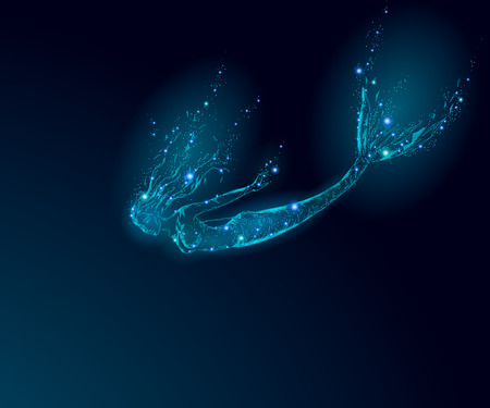 Illustration pour Low poly mermaid triangle myth creature sadness depressive falling mystic. Poligonal point line glowing blue dark night death star. Beautiful underwater depth ocean vector illustration art. - image libre de droit