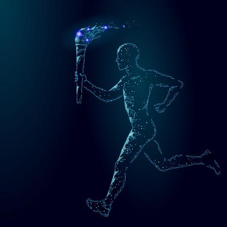 Ilustración de Torchbearer hold  fire torch athlete run low poly. Polygonal modern 3d render dark blue star international sportsman man runner vector illustration banner background template art - Imagen libre de derechos