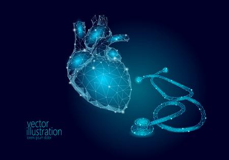 Illustration pour World Heart health Day awareness infarct attack prevent. Medicine low poly render human organ stethoscope polygonal geometric vector illustration art - image libre de droit