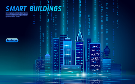 Illustrazione per Smart city 3D neon glowing cityscape. Intelligent building automation night futuristic business concept. Web online blue color future technology. Urban banner vector illustration art - Immagini Royalty Free