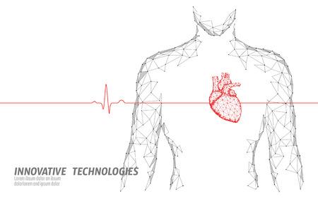 Ilustración de Man silhouette healthy heart beats 3d medicine model low poly. Triangle connected dots glow point online doctor. Pulse internal body modern innovative technology render vector illustration - Imagen libre de derechos