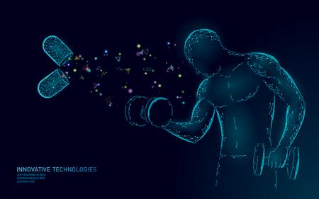 Foto de Dietary supplement vitamin bodybuilding capsule. Fitness shape drug medicine science chemistry innovation technology polygonal 3D render. Muscle power increase dumbbell vector illustration - Imagen libre de derechos