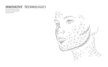 Ilustración de Low poly female human face biometric identification. Recognition system concept. Personal data secure access scanning innovation technology. 3D polygonal rendering vector illustration - Imagen libre de derechos