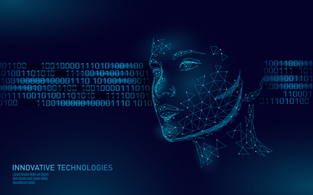 Illustration pour Low poly female human face biometric identification. Recognition system concept. Personal data secure access scanning innovation technology. 3D polygonal rendering vector illustration - image libre de droit