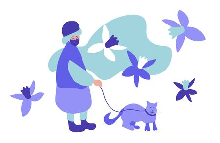 Illustrazione per An elderly woman walks with a cat on a white background.Spring llustration with a people and an animal in flat style in cold shades of blue color. Design for banners,posters,web,social networks. - Immagini Royalty Free