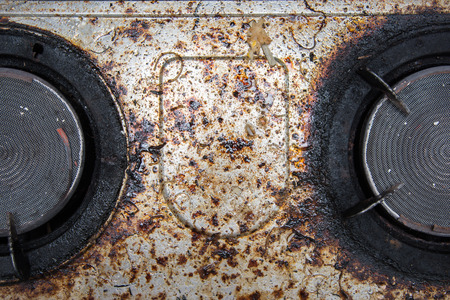 Photo pour Close up of very dirty gas burner in the kitchen - image libre de droit