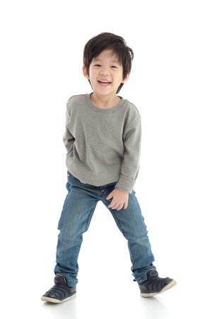 Photo pour Happy little asian boy on white background isolated - image libre de droit
