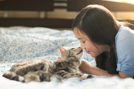 Photo for Beautiful asian girl kissing american shorthair cat on the bed - Royalty Free Image