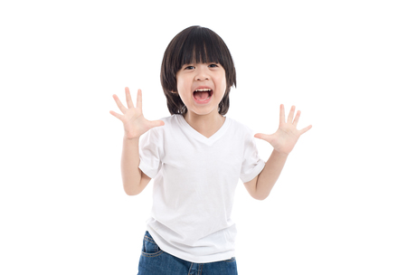 Photo pour Cute Asian child  is suprised and so happy about it on white background isolated - image libre de droit