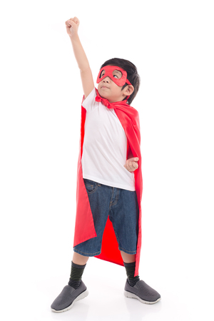 Photo pour Portrait of Asian child in Superhero's costume on white background isolated - image libre de droit
