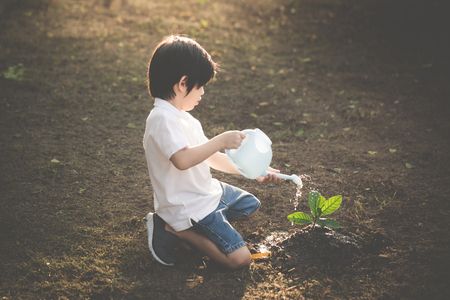 Foto de Cute Asian child watering young tree - Imagen libre de derechos
