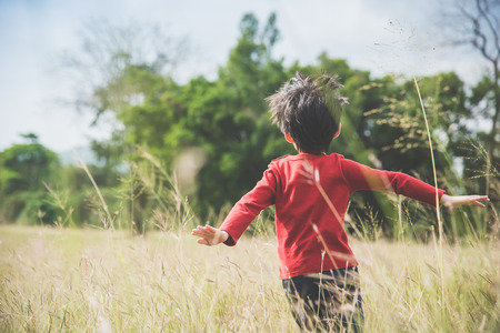 Photo pour Back of  Asian child playing pilot aviator in the grass field - image libre de droit