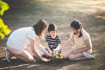 Photo pour Cute Asian children and mother planting young tree on the black soil - image libre de droit