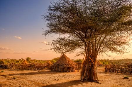 Photo pour Africa, Ethiopia, huts in a Hamer village in the sunset light - image libre de droit