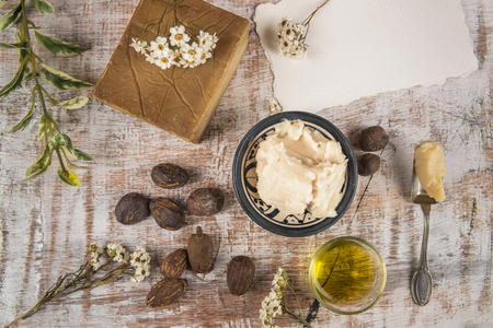 Photo for Shea nuts and shea product: Butter, oil and soap for skincare - Royalty Free Image