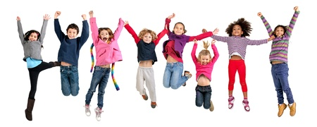 Foto per Group of children jumpng isolated in white - Immagine Royalty Free