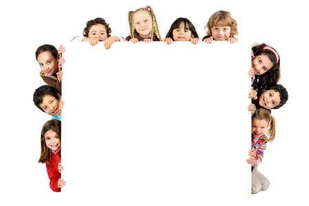 Foto de Group of children with a white board isolated in white - Imagen libre de derechos