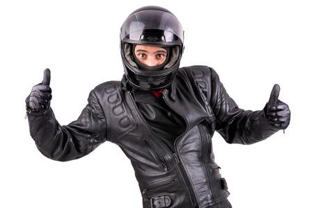Foto de Biker in leather jacket with helmet isolated in white - Imagen libre de derechos