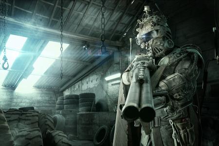 Photo pour Futuristic soldier posing with gun and armor - image libre de droit