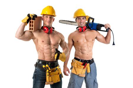 Photo for Two strong build construction workers isolated in white - Royalty Free Image