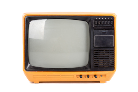 Photo pour Old retro tv isolated in a white background - image libre de droit