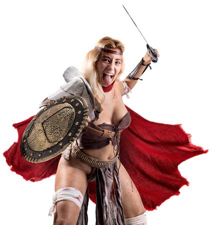 Foto de Ancient woman warrior or Gladiator isolated in white - Imagen libre de derechos