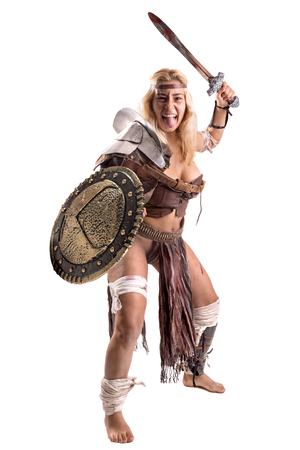 Foto per Ancient woman warrior or Gladiator isolated in white - Immagine Royalty Free