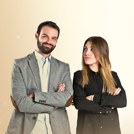 Photo for Couple with their arms crossed over isolated background - Royalty Free Image