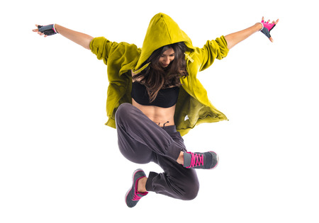 Photo pour Teenager girl dancing hip hop - image libre de droit