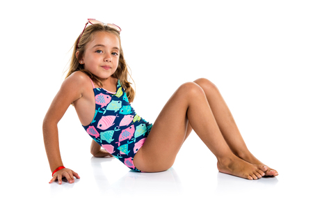 Foto de Little cute girl in swimwear - Imagen libre de derechos