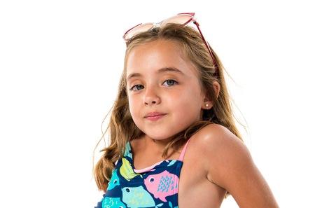Photo pour Little cute girl in swimwear - image libre de droit