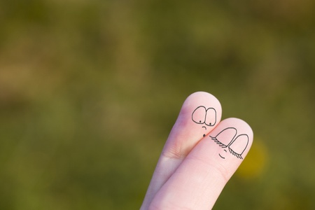 Photo for Two fingers of a hand symbolizing a couple of lovers - Royalty Free Image